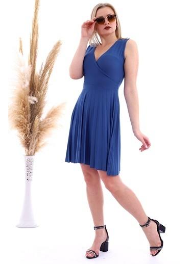Cottonmood 20070781 Örme Krep Eteği Pliseli Kruvaze Yaka Kolsuz Elbise Vizon Yilan Lacivert